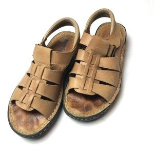 Minnetonka Leather Velcro Buckle Brown Sandal 6